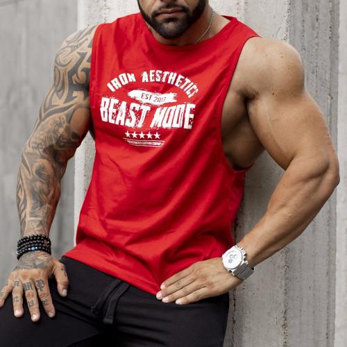 Pánské fitness TÍLKO Iron Aesthetics Beast Mode Est. 2017, červené
