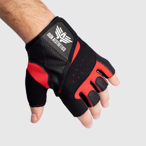 Fitness rukavice Iron Aesthetics, červené