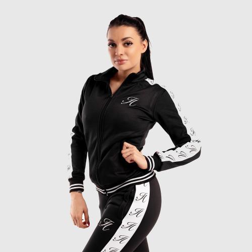 Dámská Fitness mikina se zipem Iron Aesthetics Striped, černá