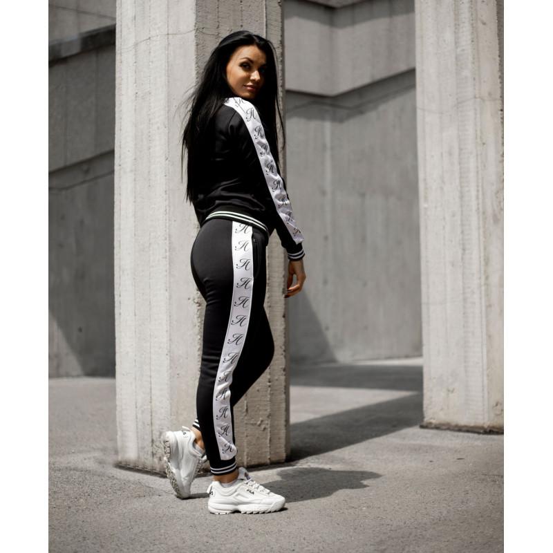 Dámské fitness tepláky Iron Aesthetics Striped, černé-9