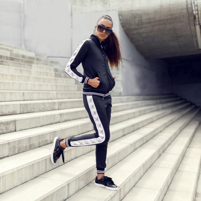 Dámské fitness tepláky Iron Aesthetics Striped, černé-11