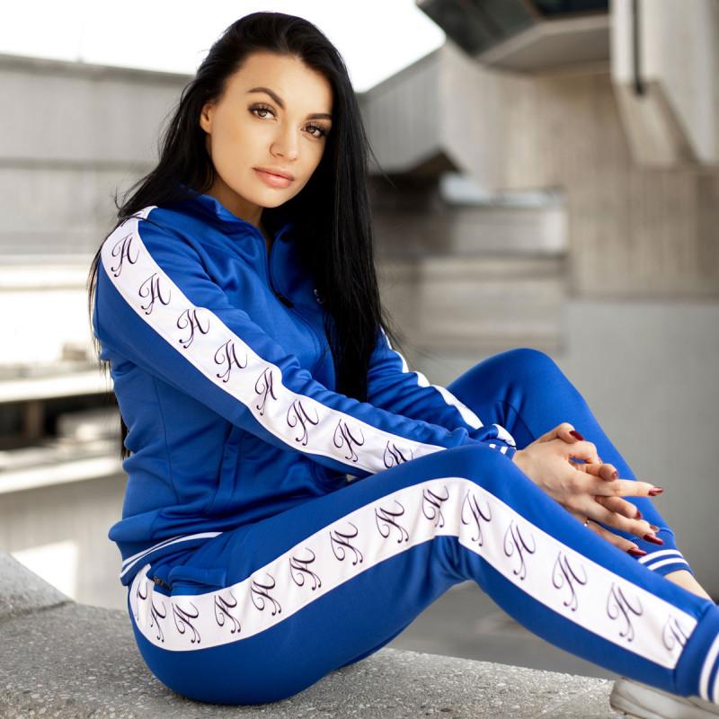 Dámské fitness tepláky Iron Aesthetics Striped, modré-8
