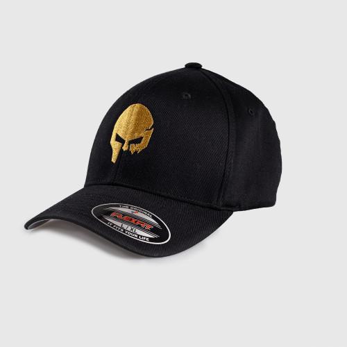 Pánská kšiltovka Iron Aesthetics FlexFit SKULL GOLD, černá