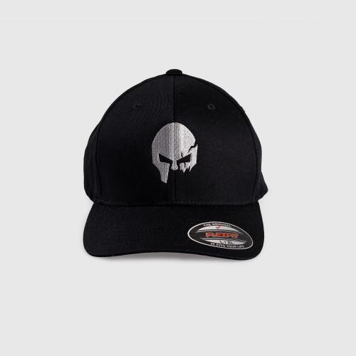 Pánská kšiltovka Iron Aesthetics FlexFit SKULL SILVER, černá