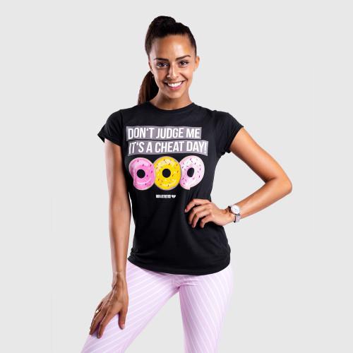 Dámské fitness tričko Iron Aesthetics DONUTS, černé