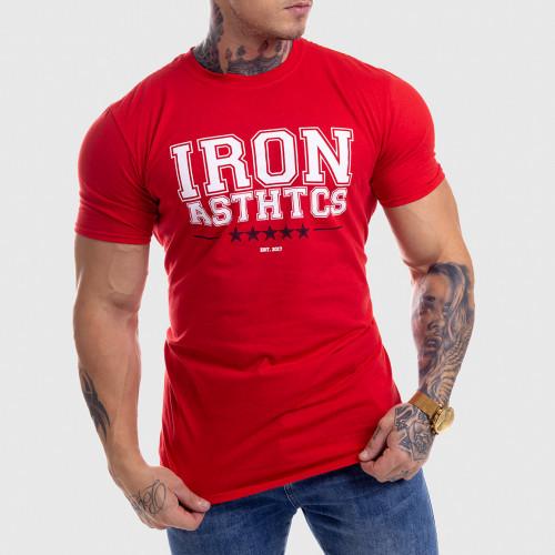 Pánské fitness tričko Iron Aesthetics VARSITY, červené