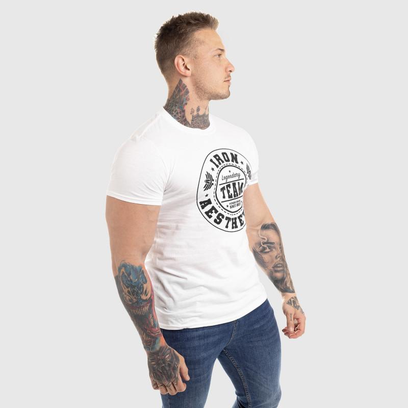 Pánské fitness tričko Iron Aesthetics Circle Star, bílé-5