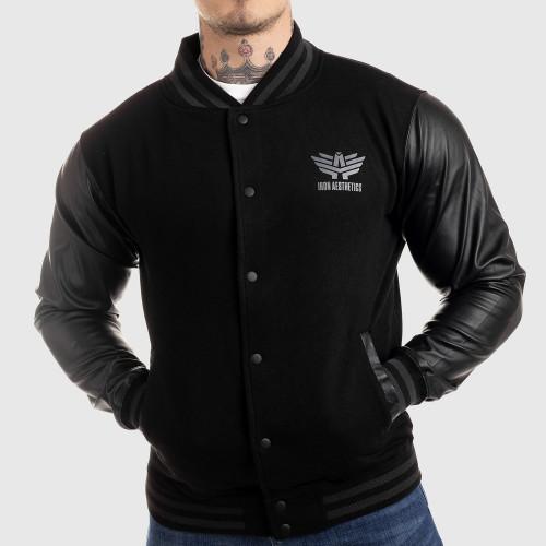 Pánská bunda Iron Aesthetics Varsity Leather, černá