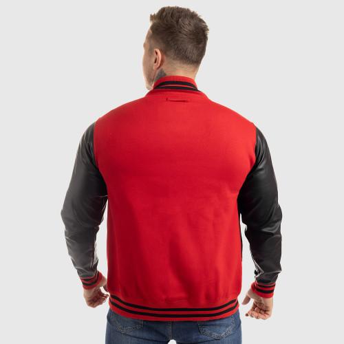 Pánská bunda Iron Aesthetics Varsity Leather, červená