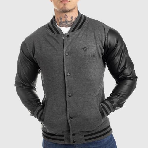 Pánská bunda Iron Aesthetics Varsity Leather, šedá