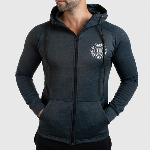 Pánská fitness mikina se zipem Iron Aesthetics Circle Star, Grey Black
