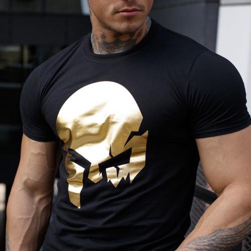 Ultrasoft tričko Iron Aesthetics Skull, black&gold