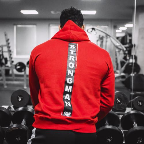 Fitness mikina bez zipu Iron Aesthetics Strongman, červená