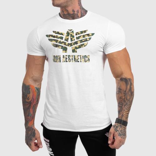 Ultrasoft tričko Iron Aesthetics Green Camo, bílé