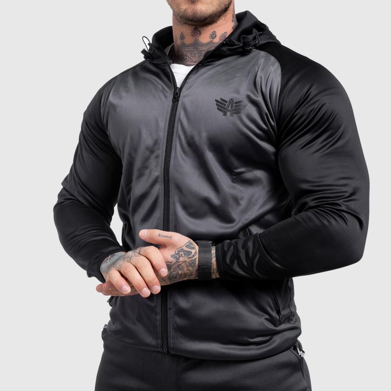 Fitness mikina se zipem Iron Aesthetics SLEEVE, šedá-1
