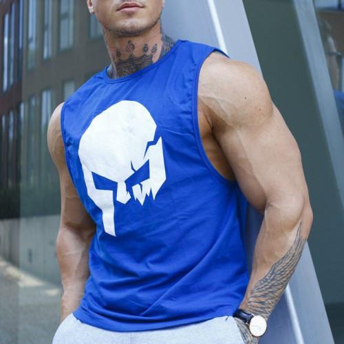 Pánské fitness tílko Iron Aesthetics Skull, modré