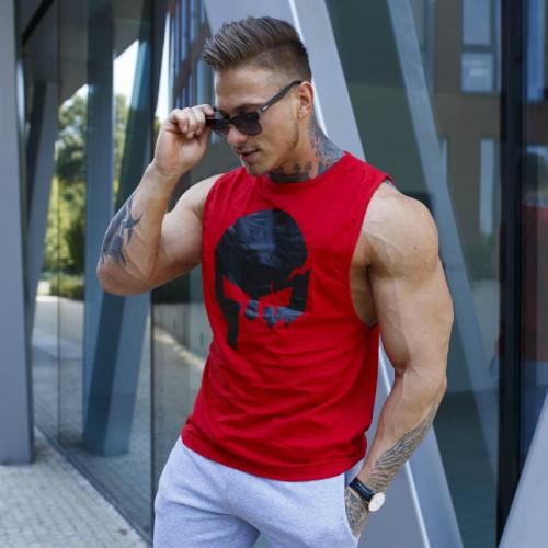Pánské fitness tílko Iron Aesthetics Skull, červené