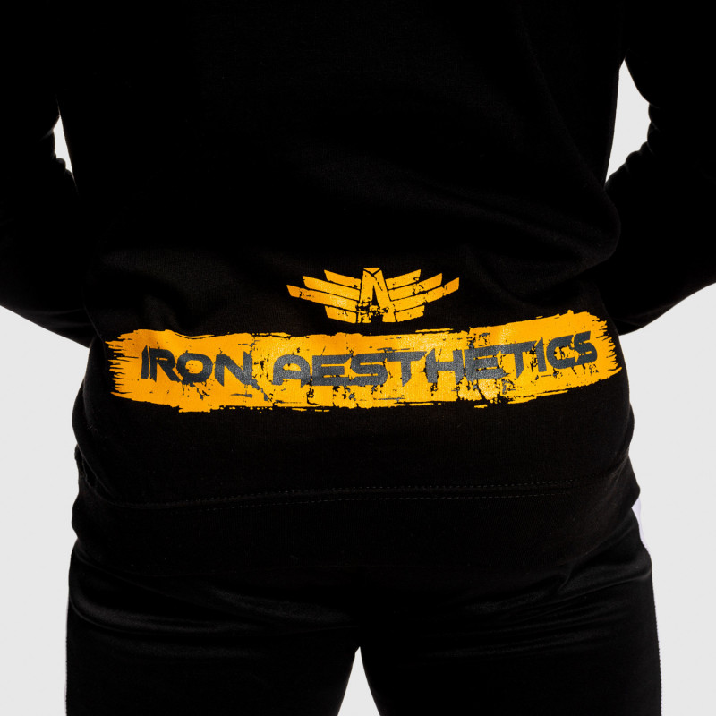 Fitness mikina bez zipu Iron Aesthetics Force, černá-6