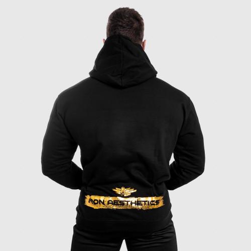 Fitness mikina bez zipu Iron Aesthetics Force, black&gold