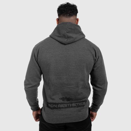 Fitness mikina bez zipu Iron Aesthetics Force, Charcoal Grey
