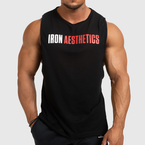 Pánske fitness TIELKO Iron Aesthetics Signature, čierno - červené