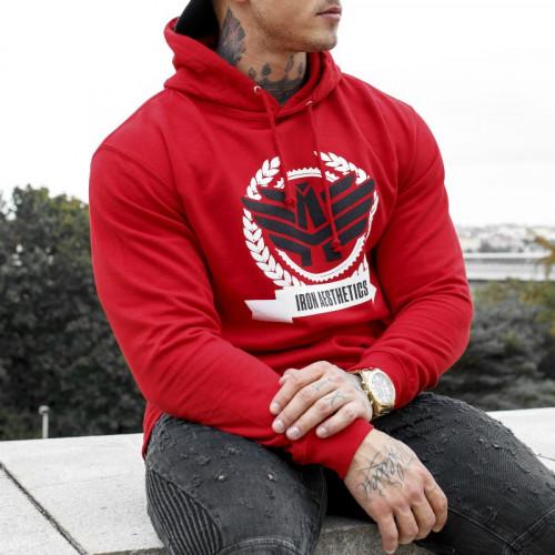 Fitness mikina bez zipu Iron Aesthetics Triumph, červená