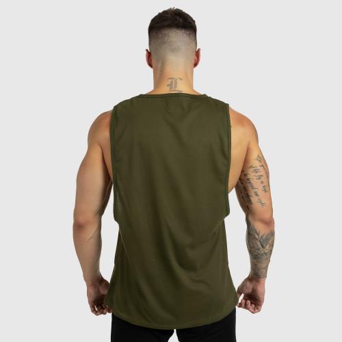 Pánske fitness TIELKO Iron Aesthetics Beast Mode Est. 2017, vojenská zelená