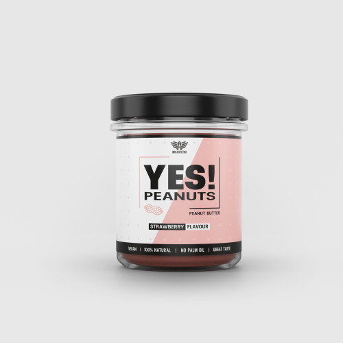 Arašídové máslo YES! Peanuts jahoda 340 g - Iron Aesthetics