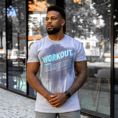 Pánske fitness tričko Iron Aesthetics Activated Workout, sivé