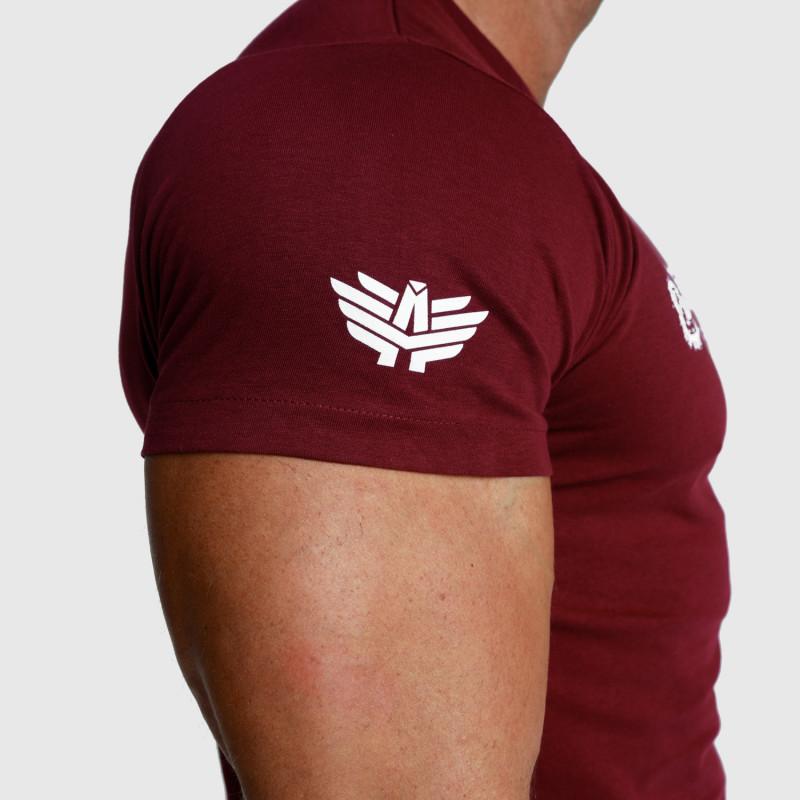Pánské fitness tričko Iron Aesthetics Unbroken, bordové-4