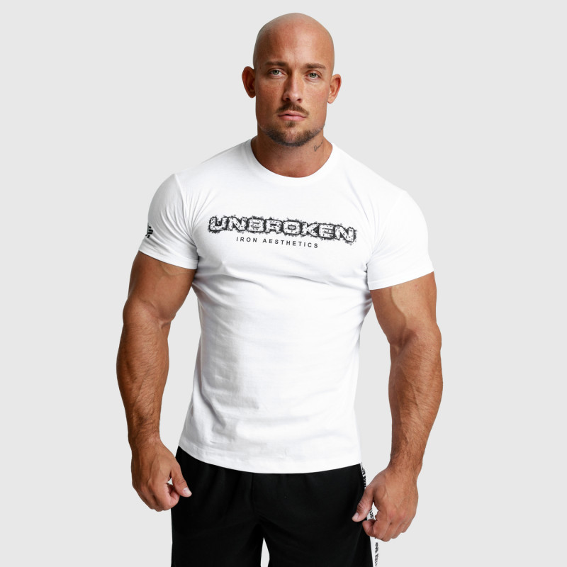Pánské fitness tričko Iron Aesthetics Unbroken, bílé-4