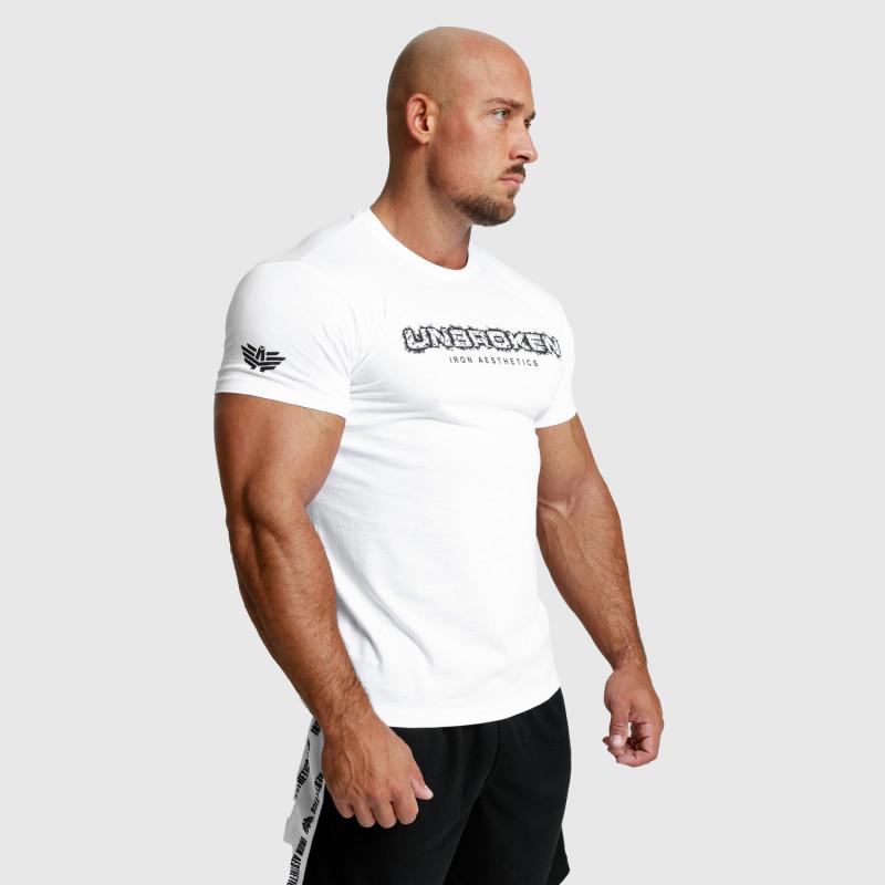 Pánské fitness tričko Iron Aesthetics Unbroken, bílé-7