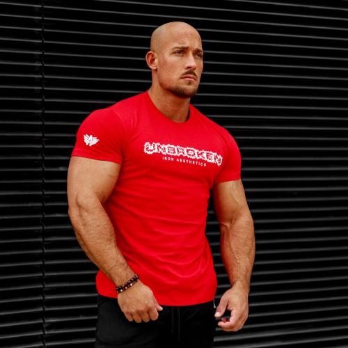 Pánske fitness tričko Iron Aesthetics Unbroken, červené