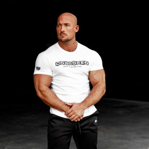 Pánske fitness tričko Iron Aesthetics Unbroken, biele