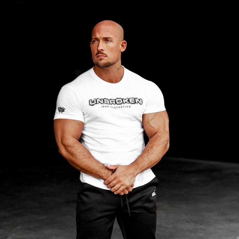 Pánské fitness tričko Iron Aesthetics Unbroken, bílé-2