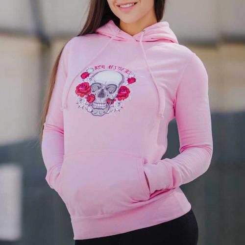 Dámská Fitness mikina Skull&Roses, růžová