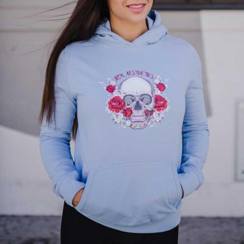 Dámská Fitness mikina Skull&Roses, modrá