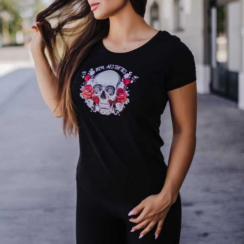 Dámské fitness tričko Iron Aesthetics Skull&Roses, černé