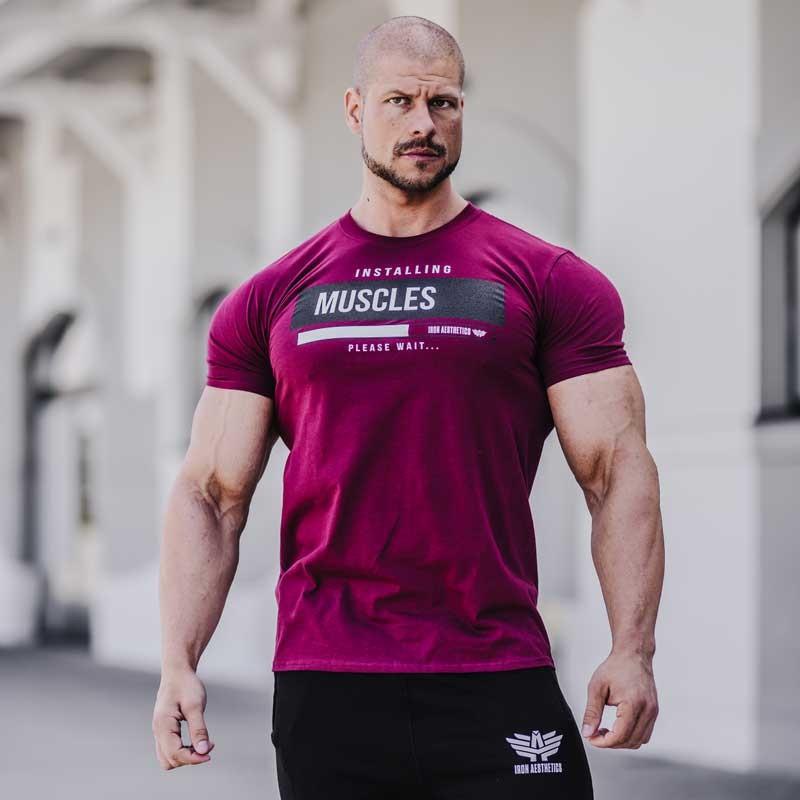 Pánské fitness tričko Iron Aesthetics Installing Muscles, bordové-3