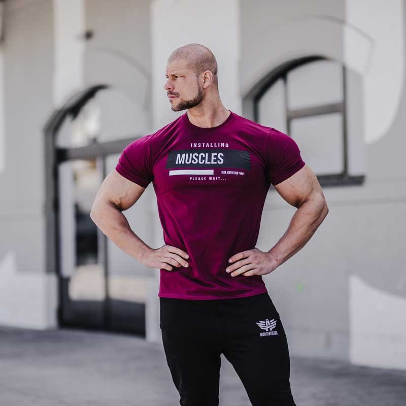 Pánské fitness tričko Iron Aesthetics Installing Muscles, bordové-2