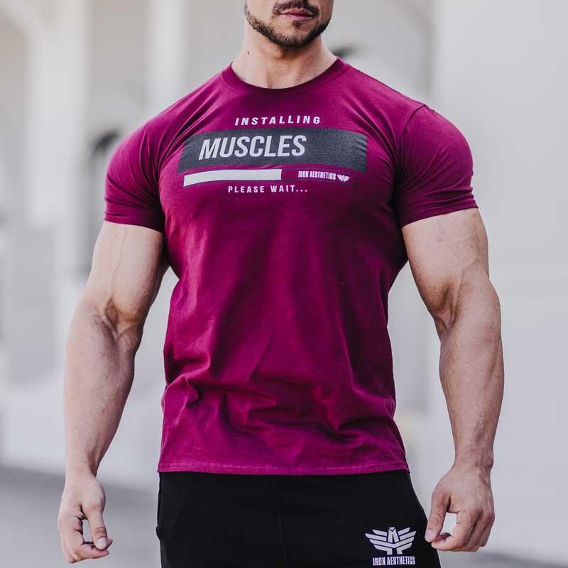 Pánské fitness tričko Iron Aesthetics Installing Muscles, bordové-1