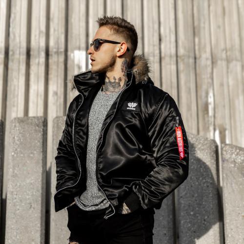 Pánská bunda s kožešinou Iron Aesthetics, černá