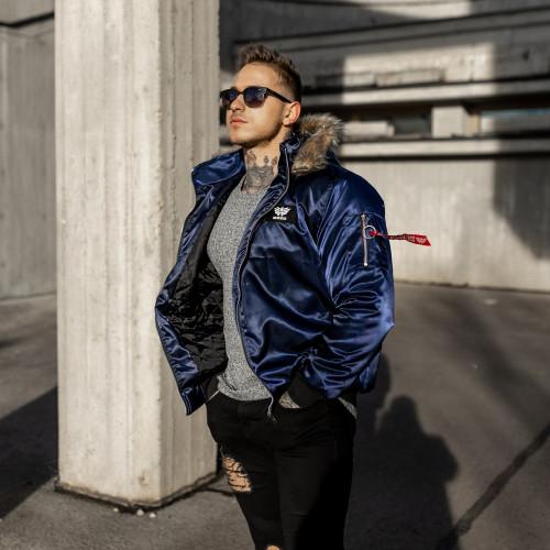 Pánská bunda s kožešinou Iron Aesthetics, modrá